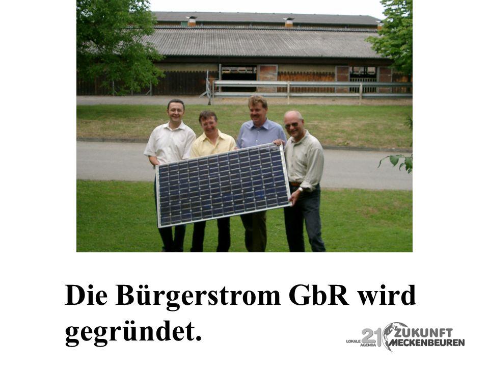 Die Bürgerstrom GbR wird gegründet.