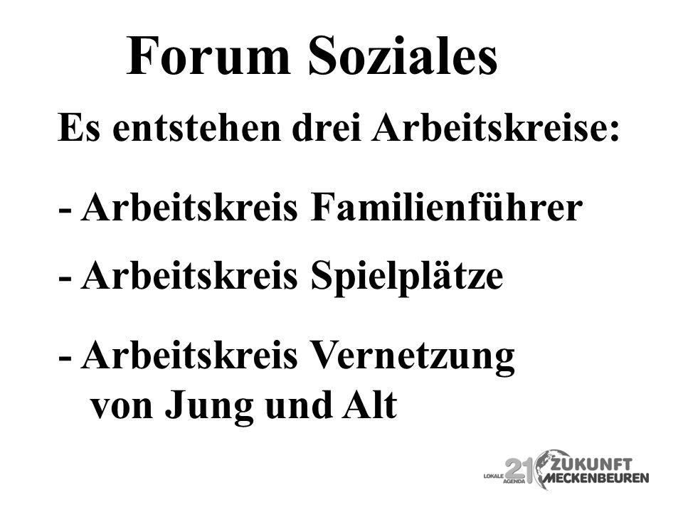 Forum Soziales - Arbeitskreis Familienführer - Arbeitskreis Vernetzung von Jung und Alt - Arbeitskreis Spielplätze Es entstehen drei Arbeitskreise: