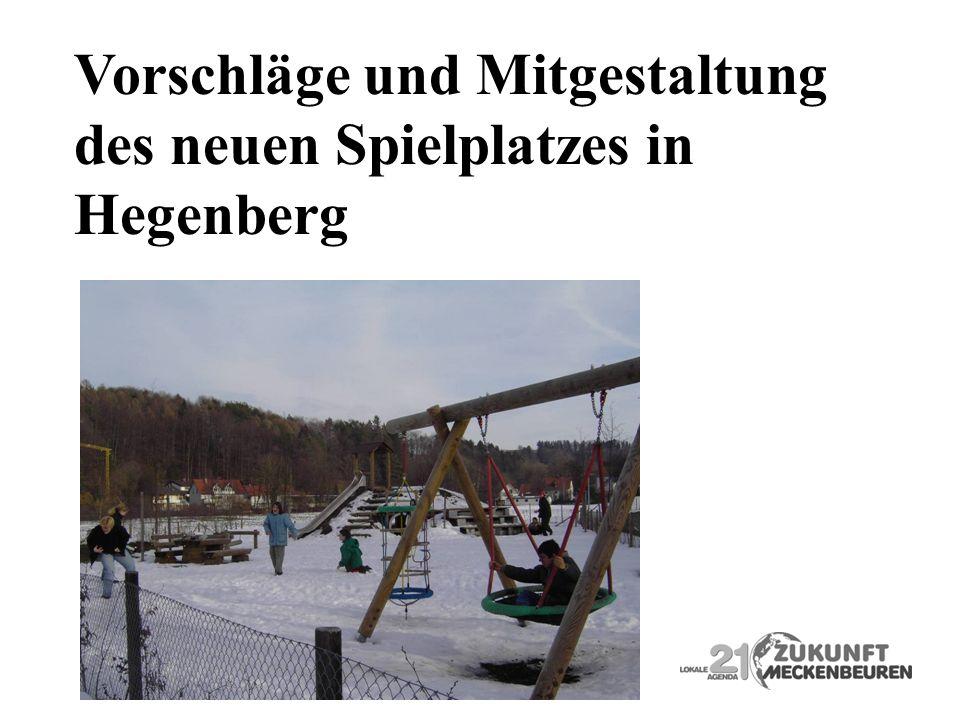 Vorschläge und Mitgestaltung des neuen Spielplatzes in Hegenberg
