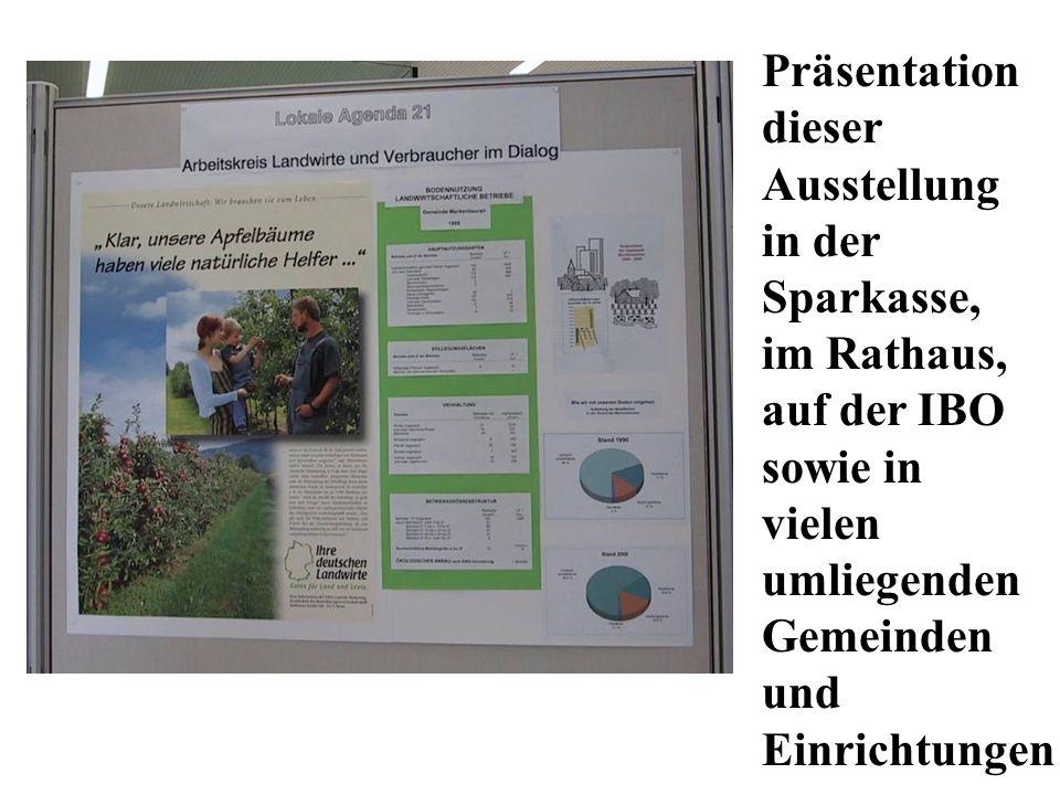 Präsentation dieser Ausstellung in der Sparkasse, im Rathaus, auf der IBO sowie in vielen umliegenden Gemeinden und Einrichtungen