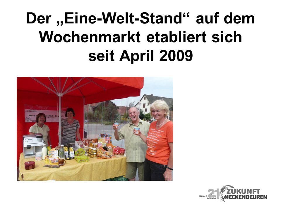 Der Eine-Welt-Stand auf dem Wochenmarkt etabliert sich seit April 2009