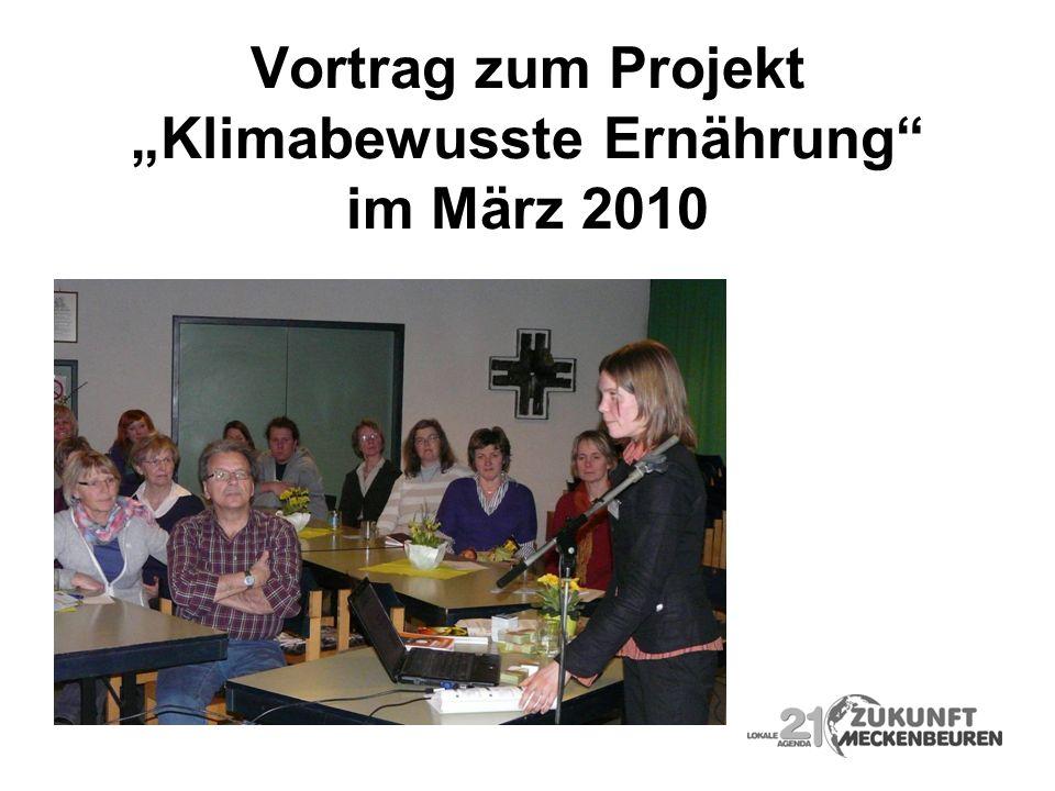 Vortrag zum Projekt Klimabewusste Ernährung im März 2010