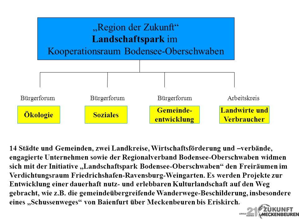 Region der Zukunft Landschaftspark im Kooperationsraum Bodensee-Oberschwaben ÖkologieSoziales Gemeinde- entwicklung Landwirte und Verbraucher 14 Städt