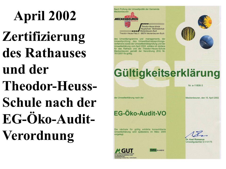 April 2002 Zertifizierung des Rathauses und der Theodor-Heuss- Schule nach der EG-Öko-Audit- Verordnung