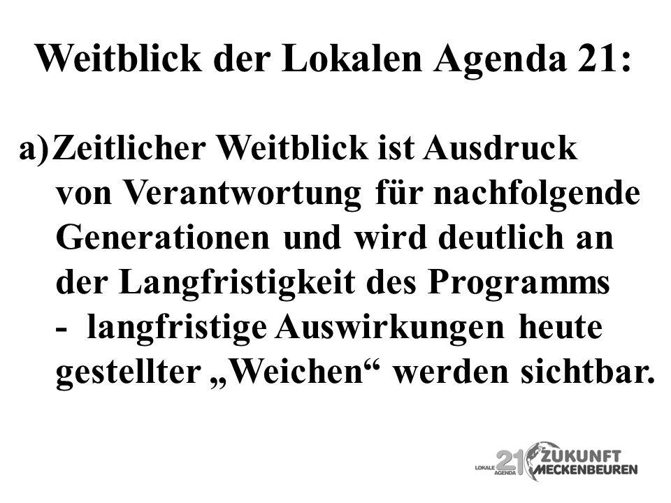 Weitblick der Lokalen Agenda 21: a)Zeitlicher Weitblick ist Ausdruck von Verantwortung für nachfolgende Generationen und wird deutlich an der Langfris