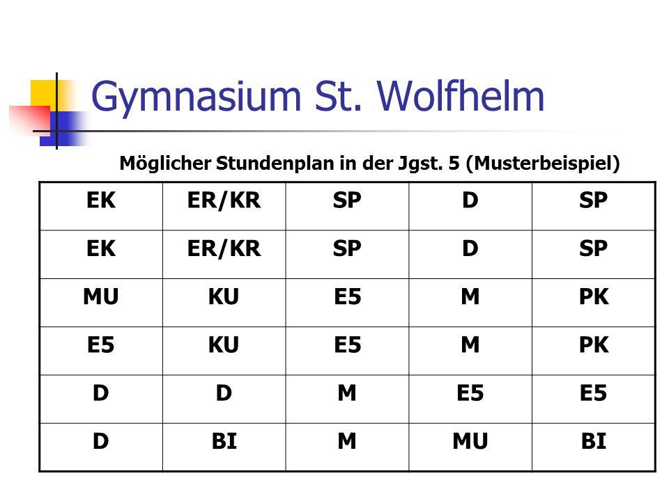 Gymnasium St. Wolfhelm Möglicher Stundenplan in der Jgst. 5 (Musterbeispiel) EKER/KRSPD EKER/KRSPD MUKUE5MPK E5KUE5MPK DDME5 DBIMMUBI