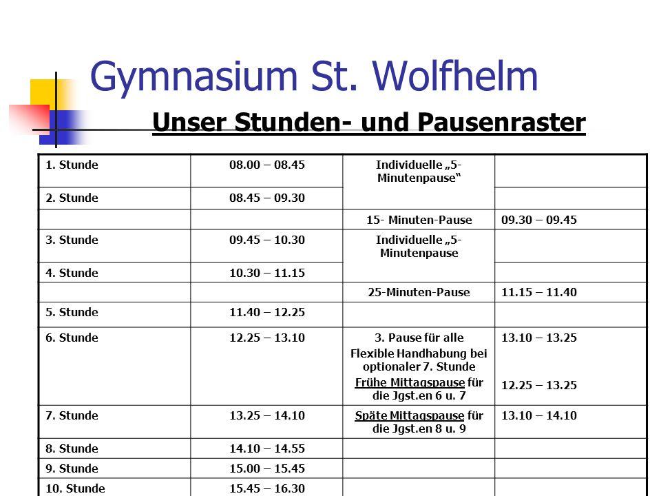 Gymnasium St. Wolfhelm Unser Stunden- und Pausenraster 1. Stunde08.00 – 08.45Individuelle 5- Minutenpause 2. Stunde08.45 – 09.30 15- Minuten-Pause09.3