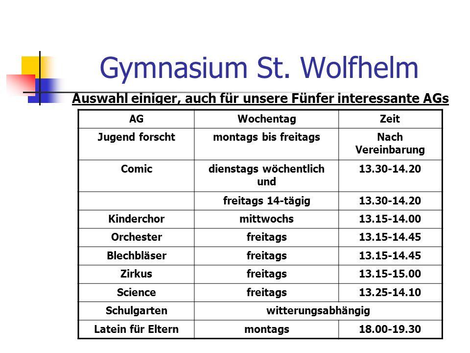 Gymnasium St. Wolfhelm Auswahl einiger, auch für unsere Fünfer interessante AGs AGWochentagZeit Jugend forschtmontags bis freitagsNach Vereinbarung Co