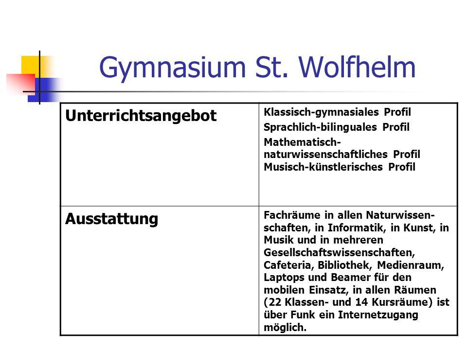 Gymnasium St. Wolfhelm Unterrichtsangebot Klassisch-gymnasiales Profil Sprachlich-bilinguales Profil Mathematisch- naturwissenschaftliches Profil Musi