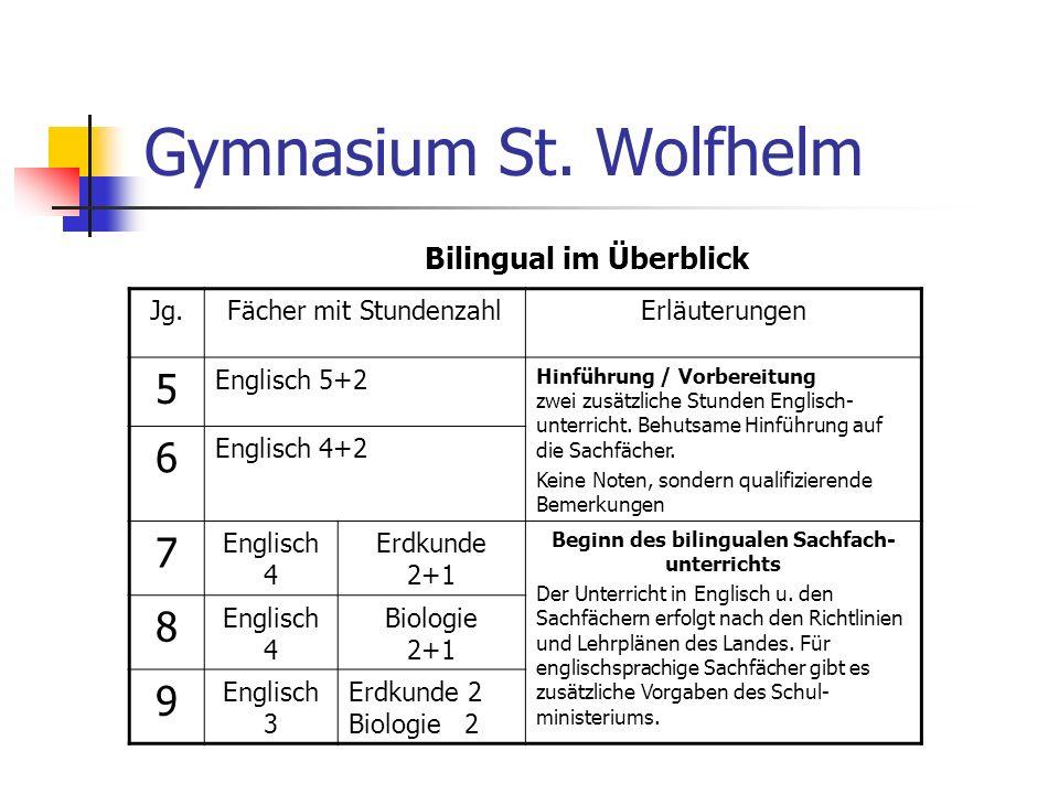 Gymnasium St. Wolfhelm Bilingual im Überblick Jg.Fächer mit StundenzahlErläuterungen 5 Englisch 5+2 Hinführung / Vorbereitung zwei zusätzliche Stunden