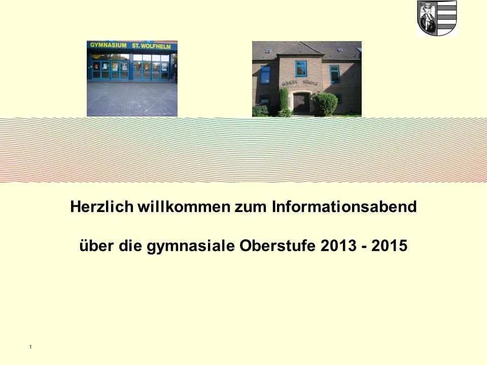 1 Herzlich willkommen zum Informationsabend über die gymnasiale Oberstufe 2013 - 2015