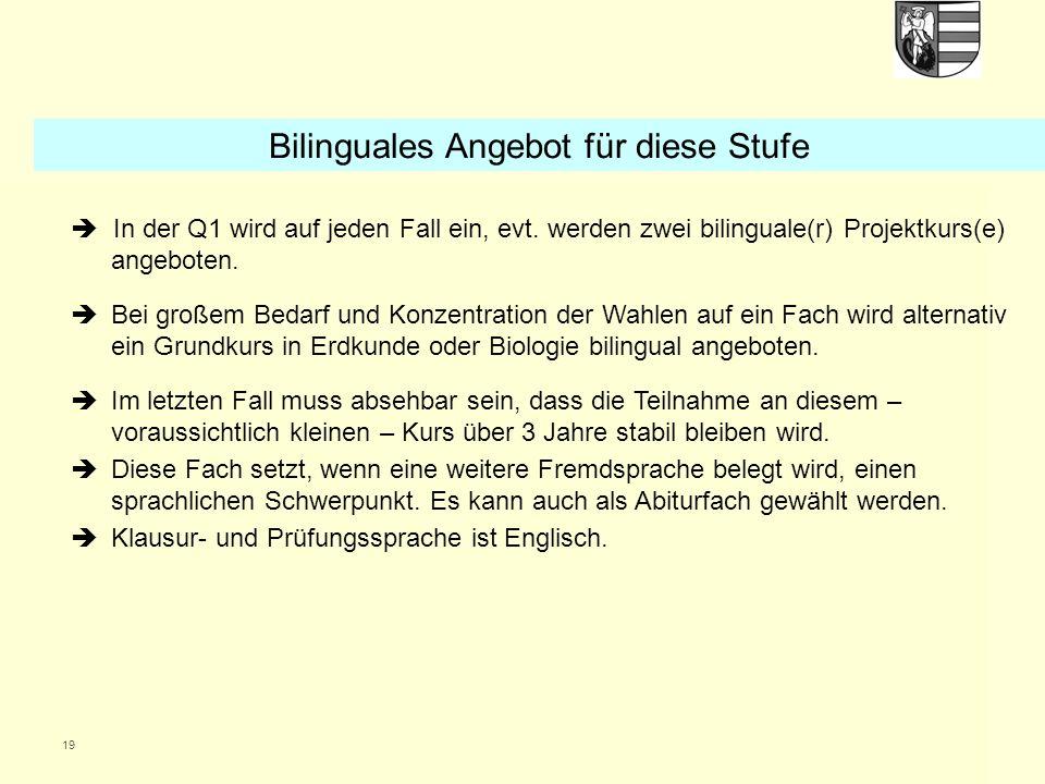 19 In der Q1 wird auf jeden Fall ein, evt.werden zwei bilinguale(r) Projektkurs(e) angeboten.