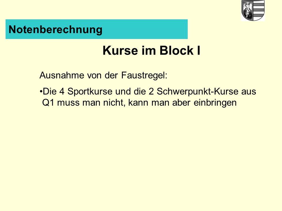 Notenberechnung Kurse im Block I Ausnahme von der Faustregel: Die 4 Sportkurse und die 2 Schwerpunkt-Kurse aus Q1 muss man nicht, kann man aber einbringen
