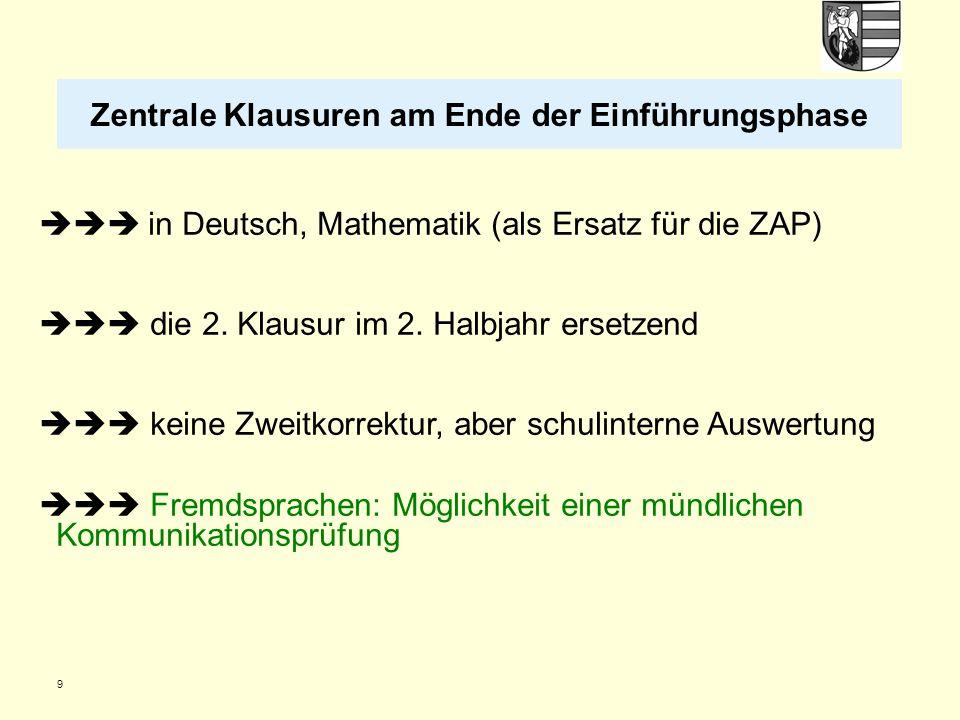 Die Leistungskurse werden am Ende der EF gewählt, 3./4.