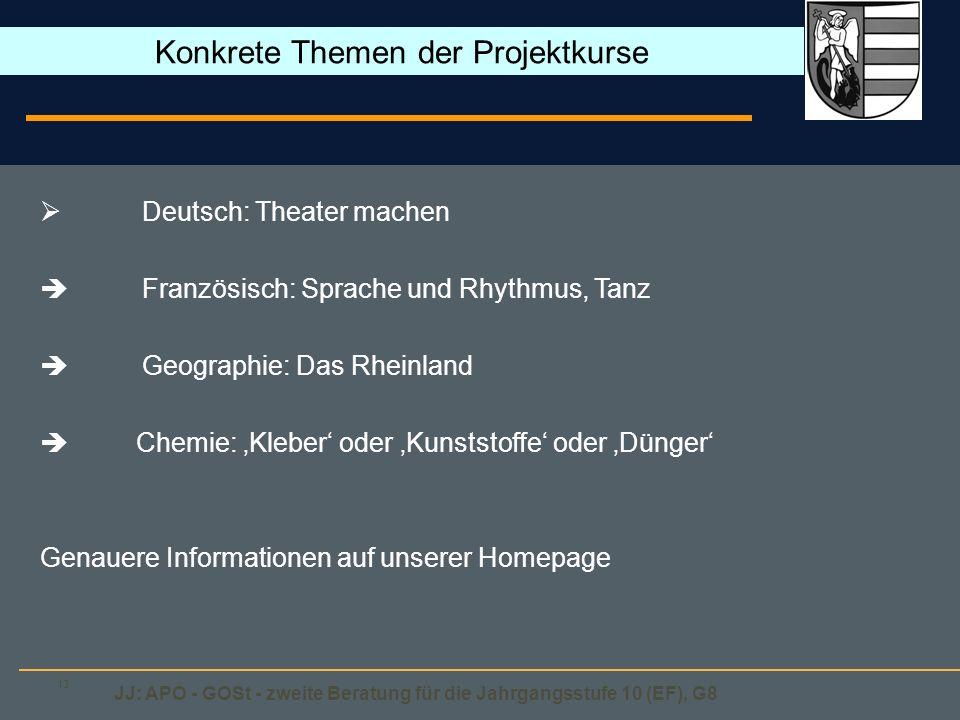 JJ: APO - GOSt - zweite Beratung für die Jahrgangsstufe 10 (EF), G8 13 Deutsch: Theater machen Französisch: Sprache und Rhythmus, Tanz Geographie: Das