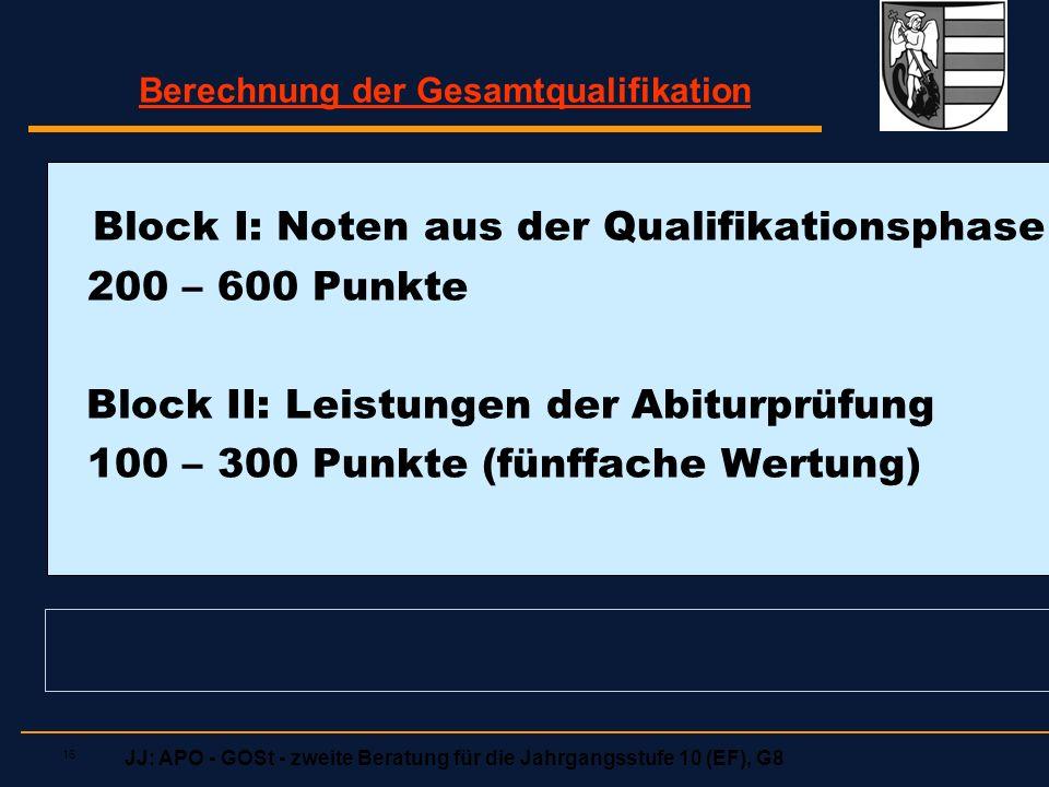 JJ: APO - GOSt - zweite Beratung für die Jahrgangsstufe 10 (EF), G8 16 Block I: Noten aus der Qualifikationsphase 200 – 600 Punkte Block II: Leistungen der Abiturprüfung 100 – 300 Punkte (fünffache Wertung) Berechnung der Gesamtqualifikation
