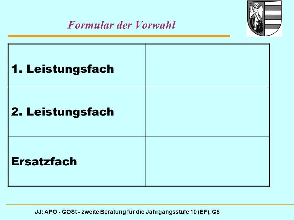 JJ: APO - GOSt - zweite Beratung für die Jahrgangsstufe 10 (EF), G8 Formular der Vorwahl 1. Leistungsfach 2. Leistungsfach Ersatzfach