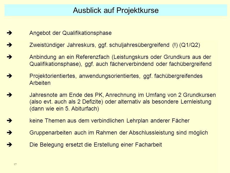 17 Angebot der Qualifikationsphase Zweistündiger Jahreskurs, ggf. schuljahresübergreifend (!) (Q1/Q2) Anbindung an ein Referenzfach (Leistungskurs ode