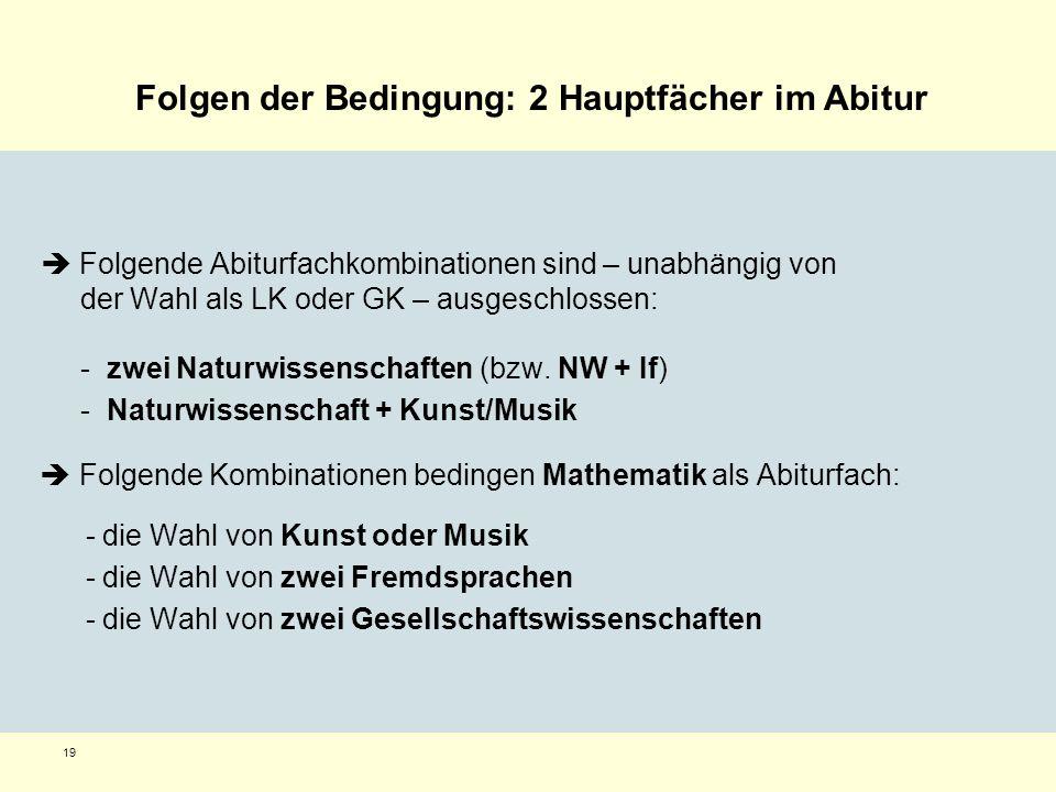 19 Folgende Abiturfachkombinationen sind – unabhängig von der Wahl als LK oder GK – ausgeschlossen: - zwei Naturwissenschaften (bzw. NW + If) - Naturw