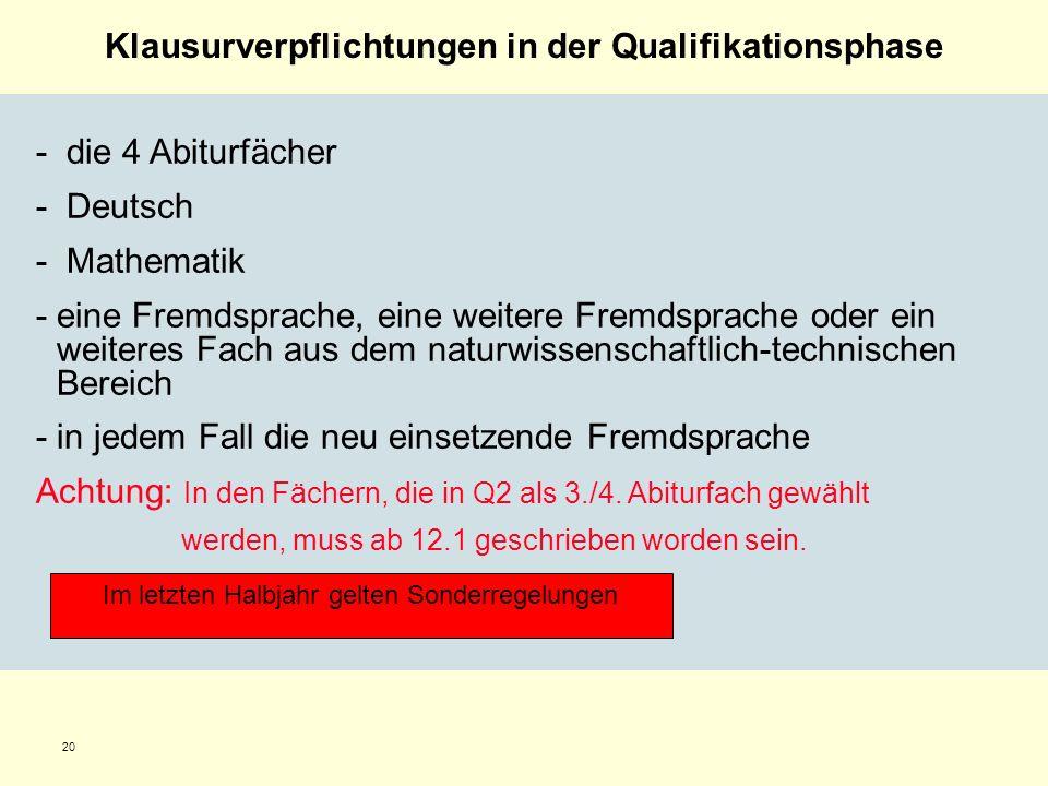 20 Klausurverpflichtungen in der Qualifikationsphase - die 4 Abiturfächer - Deutsch - Mathematik -eine Fremdsprache, eine weitere Fremdsprache oder ei