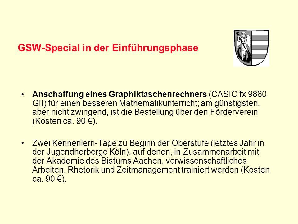 GSW-Special in der Einführungsphase Anschaffung eines Graphiktaschenrechners (CASIO fx 9860 GII) für einen besseren Mathematikunterricht; am günstigst