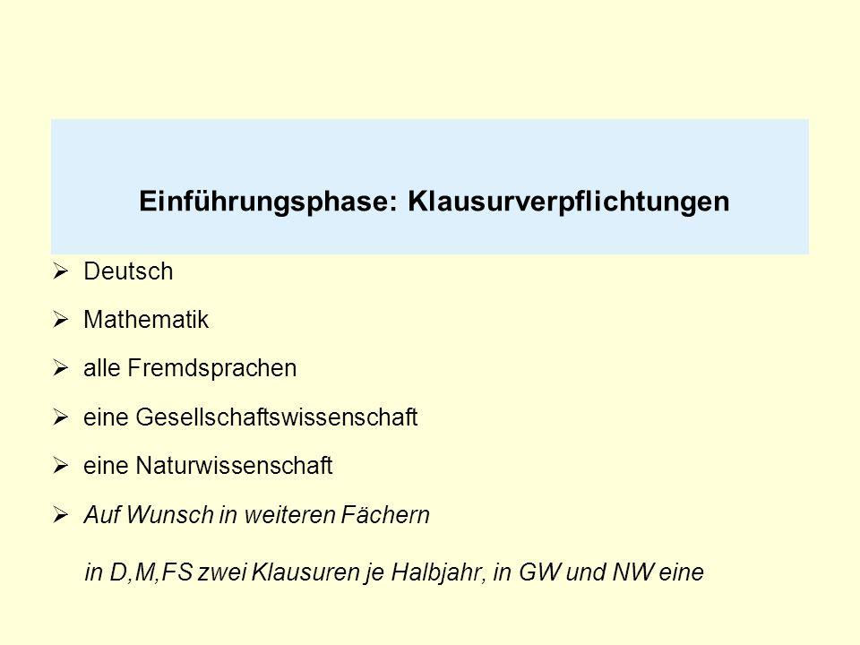 Einführungsphase: Klausurverpflichtungen Deutsch Mathematik alle Fremdsprachen eine Gesellschaftswissenschaft eine Naturwissenschaft Auf Wunsch in wei