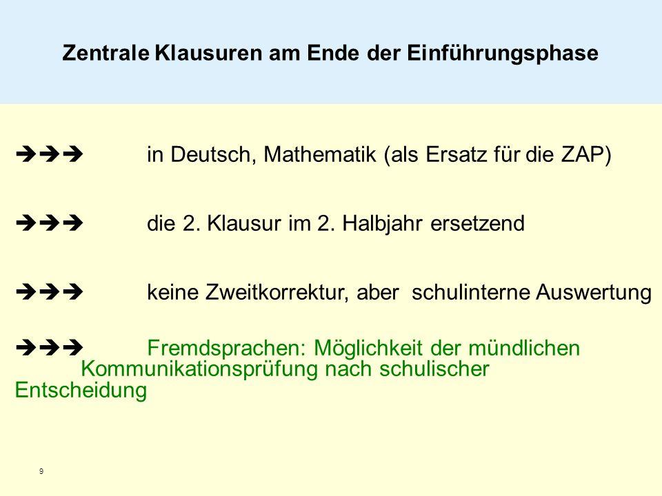 9 in Deutsch, Mathematik (als Ersatz für die ZAP) die 2. Klausur im 2. Halbjahr ersetzend keine Zweitkorrektur, aberschulinterne Auswertung Fremdsprac