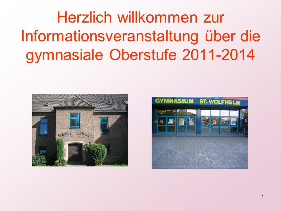 1 Herzlich willkommen zur Informationsveranstaltung über die gymnasiale Oberstufe 2011-2014