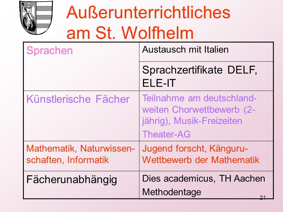 21 Sprachen Austausch mit Italien Sprachzertifikate DELF, ELE-IT Künstlerische Fächer Teilnahme am deutschland- weiten Chorwettbewerb (2- jährig), Mus