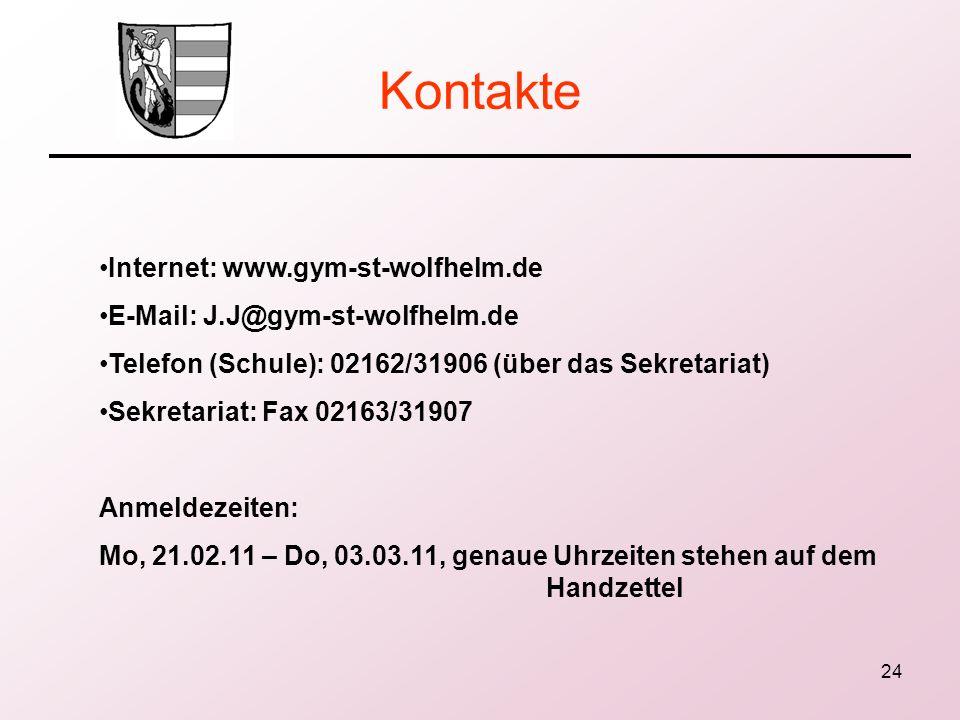 24 Kontakte Internet: www.gym-st-wolfhelm.de E-Mail: J.J@gym-st-wolfhelm.de Telefon (Schule): 02162/31906 (über das Sekretariat) Sekretariat: Fax 0216