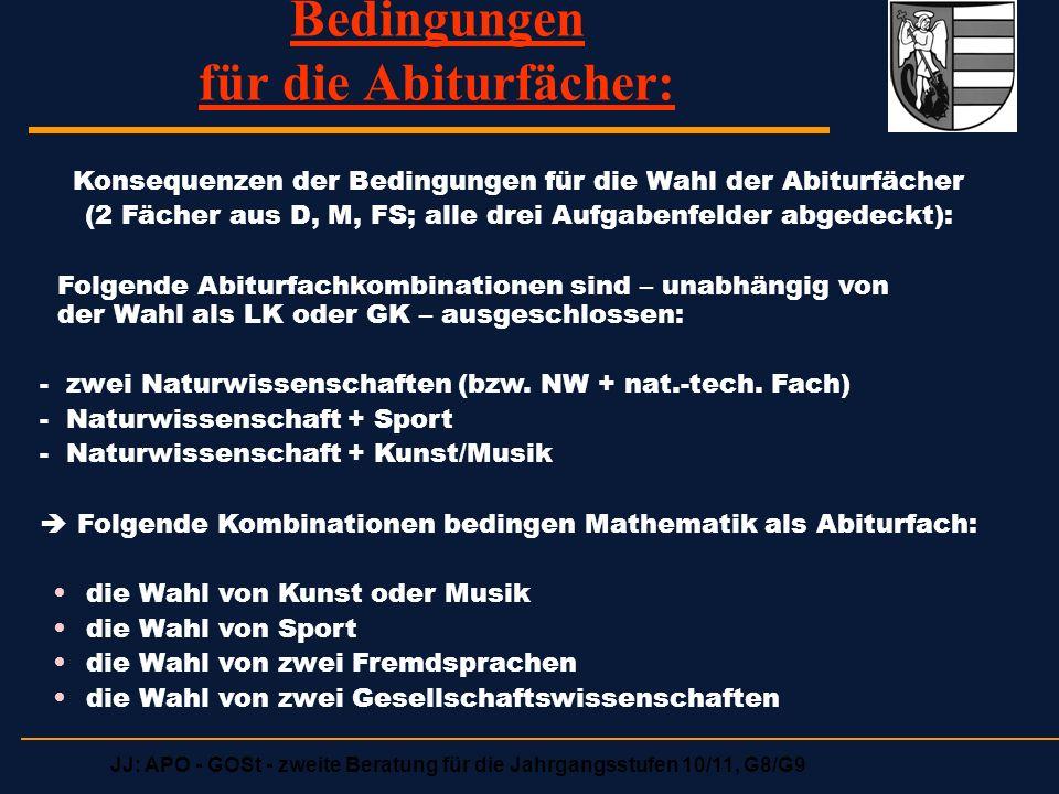 JJ: APO - GOSt - zweite Beratung für die Jahrgangsstufen 10/11, G8/G9 Bedingungen für die Abiturfächer: Konsequenzen der Bedingungen für die Wahl der