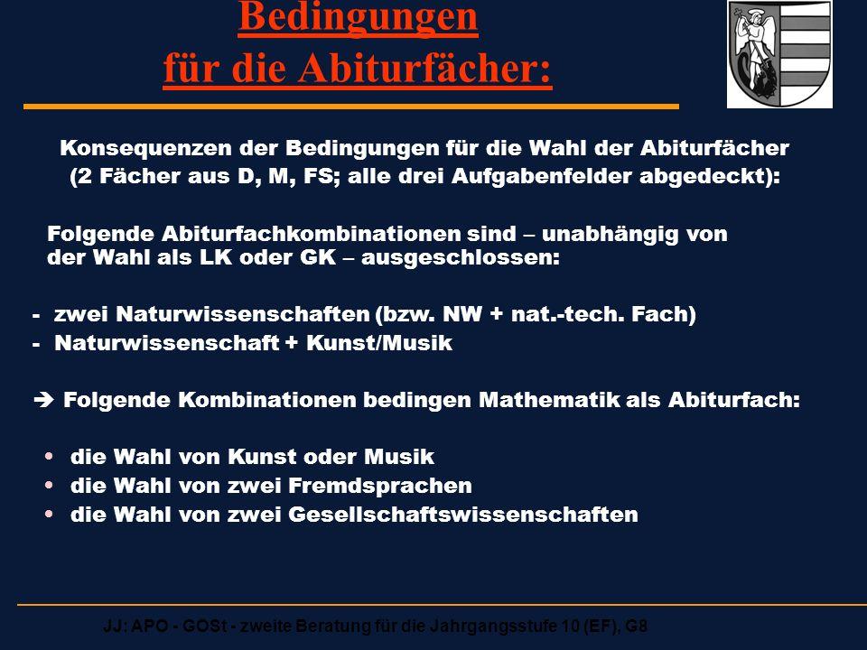 JJ: APO - GOSt - zweite Beratung für die Jahrgangsstufe 10 (EF), G8 Bedingungen für die Abiturfächer: Konsequenzen der Bedingungen für die Wahl der Abiturfächer (2 Fächer aus D, M, FS; alle drei Aufgabenfelder abgedeckt): Folgende Abiturfachkombinationen sind – unabhängig von der Wahl als LK oder GK – ausgeschlossen: - zwei Naturwissenschaften (bzw.