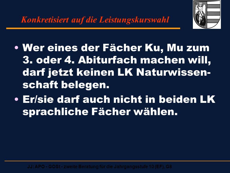 JJ: APO - GOSt - zweite Beratung für die Jahrgangsstufe 10 (EF), G8 Angebotene Leistungskurse Aufgabenfeld 1Aufgabenfeld 2Aufgabenfeld 3 Deutsch Englisch evt.
