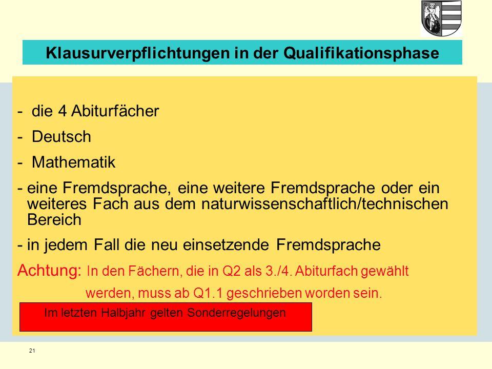 21 Klausurverpflichtungen in der Qualifikationsphase - die 4 Abiturfächer - Deutsch - Mathematik -eine Fremdsprache, eine weitere Fremdsprache oder ein weiteres Fach aus dem naturwissenschaftlich/technischen Bereich -in jedem Fall die neu einsetzende Fremdsprache Achtung: In den Fächern, die in Q2 als 3./4.
