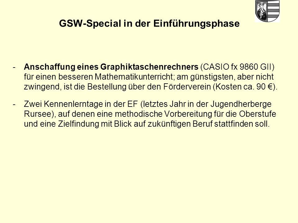 GSW-Special in der Einführungsphase -Anschaffung eines Graphiktaschenrechners (CASIO fx 9860 GII) für einen besseren Mathematikunterricht; am günstigsten, aber nicht zwingend, ist die Bestellung über den Förderverein (Kosten ca.