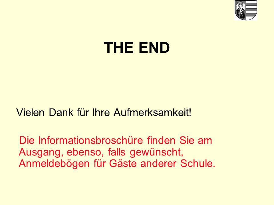 THE END Vielen Dank für Ihre Aufmerksamkeit.