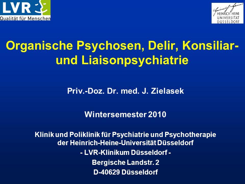 Organische Psychosen, Delir, Konsiliar- und Liaisonpsychiatrie 1.Geschichte der Konsiliar- und Liaisonpsychiatrie (CL-Psychiatrie) 2.Aufgaben und Praxis der CL-Psychiatrie heute 3.Häufigkeit psychischer Störungen bei körperlichen Erkrankungen 4.Beispiele für häufige Fragestellungen in der CL-Psychiatrie: 4.1.