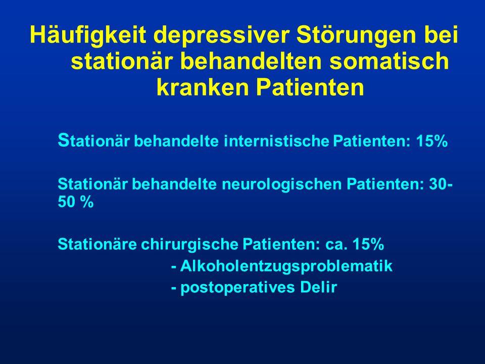 Häufigkeit depressiver Störungen bei stationär behandelten somatisch kranken Patienten S tationär behandelte internistische Patienten: 15% Stationär b