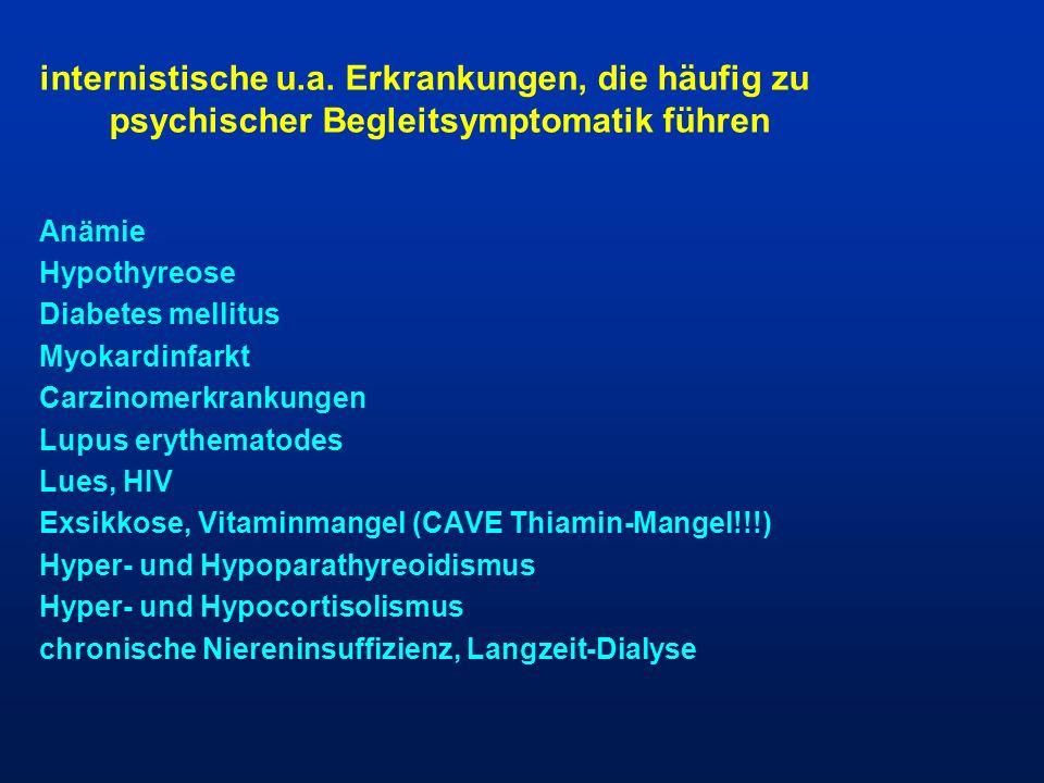 internistische u.a. Erkrankungen, die häufig zu psychischer Begleitsymptomatik führen Anämie Hypothyreose Diabetes mellitus Myokardinfarkt Carzinomerk