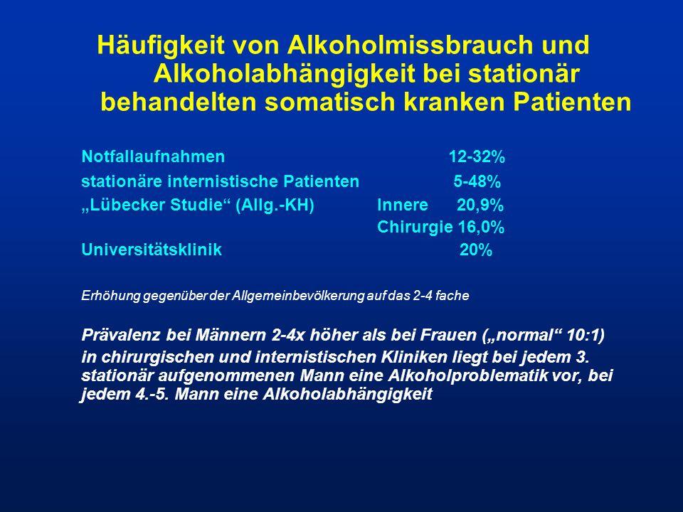 Häufigkeit von Alkoholmissbrauch und Alkoholabhängigkeit bei stationär behandelten somatisch kranken Patienten Notfallaufnahmen 12-32% stationäre inte