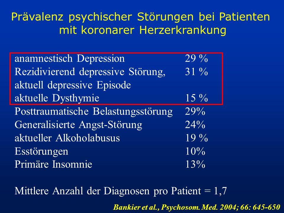Prävalenz psychischer Störungen bei Patienten mit koronarer Herzerkrankung anamnestisch Depression29 % Rezidivierend depressive Störung,31 % aktuell d