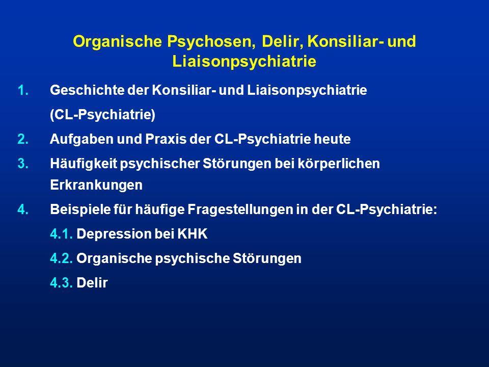 Historische Entwicklung des Begriffes der organischen psychischen Störung Akute exogene ReaktionstypenBonhoeffer, 1908 immer wiederkehrende, ätiologisch unspezifische Symptom- und Verlaufsmuster (Delir, Halluzinose, Erregungszustand, Dämmerzustand und Amentia) organischer SymptomenkomplexBleuler, 1916 kognitive Störung, emotionale Veränderung, Persönlichkeitswandel DurchgangssyndromWieck, 1956 organische einschliesslichICD-10, 1993 symptomatische psychische Störungen