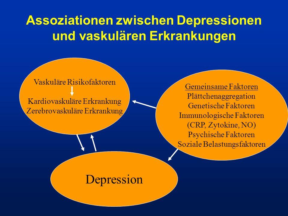 Assoziationen zwischen Depressionen und vaskulären Erkrankungen Vaskuläre Risikofaktoren Kardiovaskuläre Erkrankung Zerebrovaskuläre Erkrankung Gemein