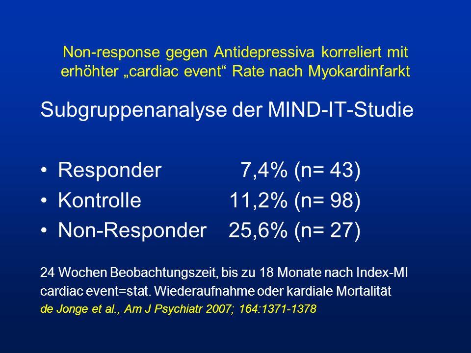 Non-response gegen Antidepressiva korreliert mit erhöhter cardiac event Rate nach Myokardinfarkt Subgruppenanalyse der MIND-IT-Studie Responder 7,4% (