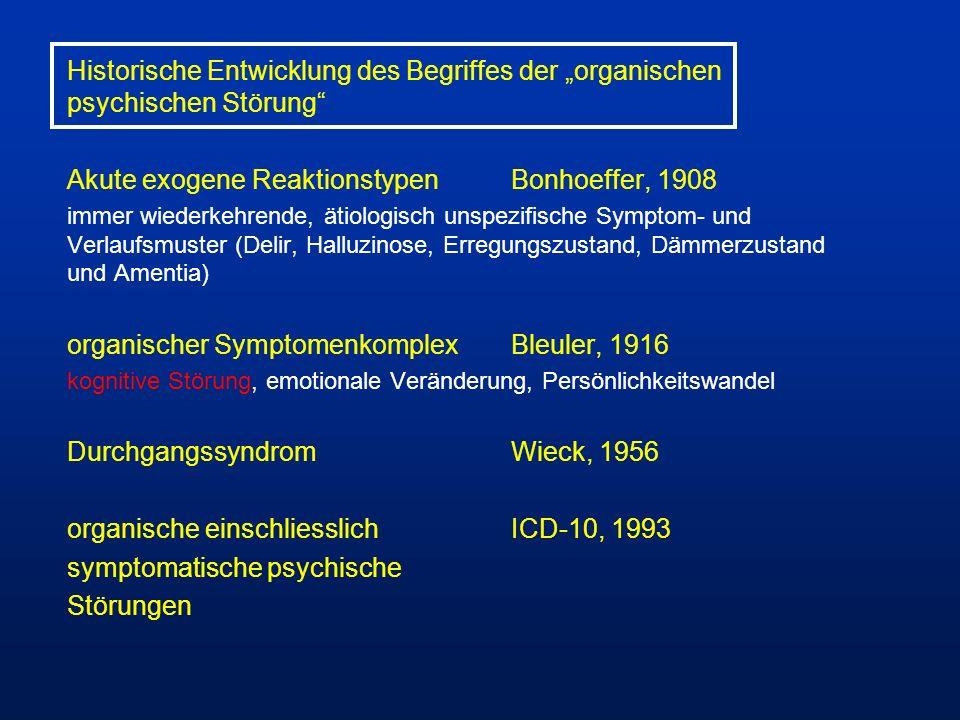 Historische Entwicklung des Begriffes der organischen psychischen Störung Akute exogene ReaktionstypenBonhoeffer, 1908 immer wiederkehrende, ätiologis