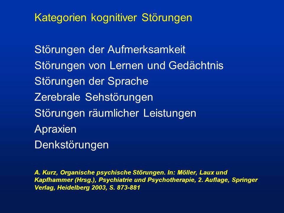 Kategorien kognitiver Störungen Störungen der Aufmerksamkeit Störungen von Lernen und Gedächtnis Störungen der Sprache Zerebrale Sehstörungen Störunge