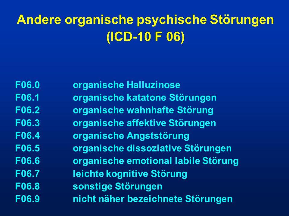 Andere organische psychische Störungen (ICD-10 F 06) F06.0organische Halluzinose F06.1organische katatone Störungen F06.2organische wahnhafte Störung