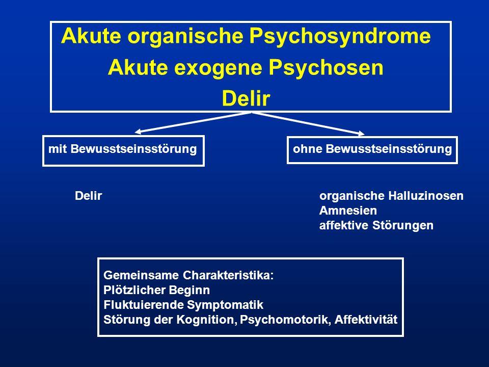 Akute organische Psychosyndrome Akute exogene Psychosen Delir mit Bewusstseinsstörungohne Bewusstseinsstörung Delirorganische Halluzinosen Amnesien af