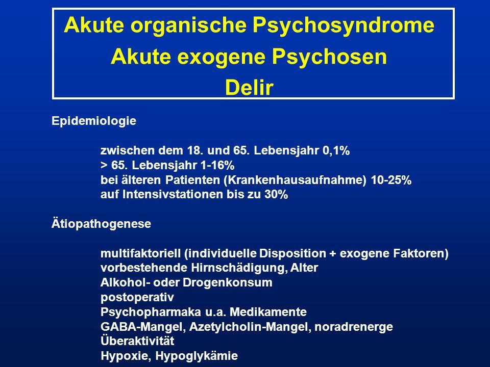 Akute organische Psychosyndrome Akute exogene Psychosen Delir Epidemiologie zwischen dem 18. und 65. Lebensjahr 0,1% > 65. Lebensjahr 1-16% bei ältere