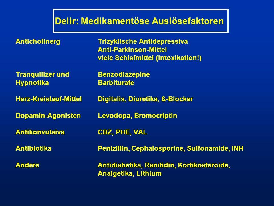 Delir: Medikamentöse Auslösefaktoren AnticholinergTrizyklische Antidepressiva Anti-Parkinson-Mittel viele Schlafmittel (Intoxikation!) Tranquilizer un